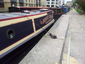 Double and triple parked boats along the entire length of the canal ... often moored for months at a time