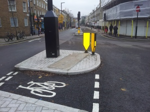 A cycle priority phase has been programmed into the signals plus a specially engineered route through the Wharfdale Road junction junction constructed for cyclists.