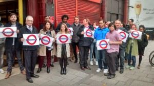Caledonian Road underground station passengers protesting, November 4th.
